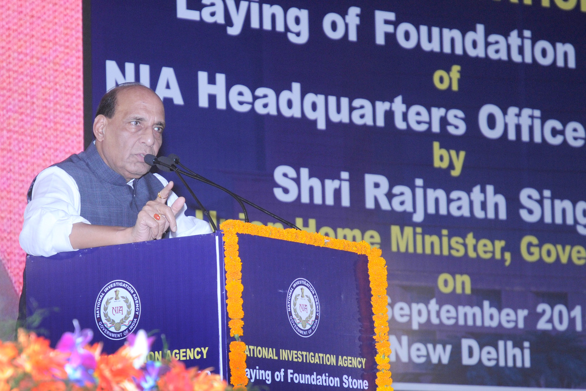 The Union Home Minister, Shri Rajnath Singh addressing at the laying foundation stone ceremony of the National Investigation Agency, Head Quarters Complex, in New Delhi on September 10, 2015.