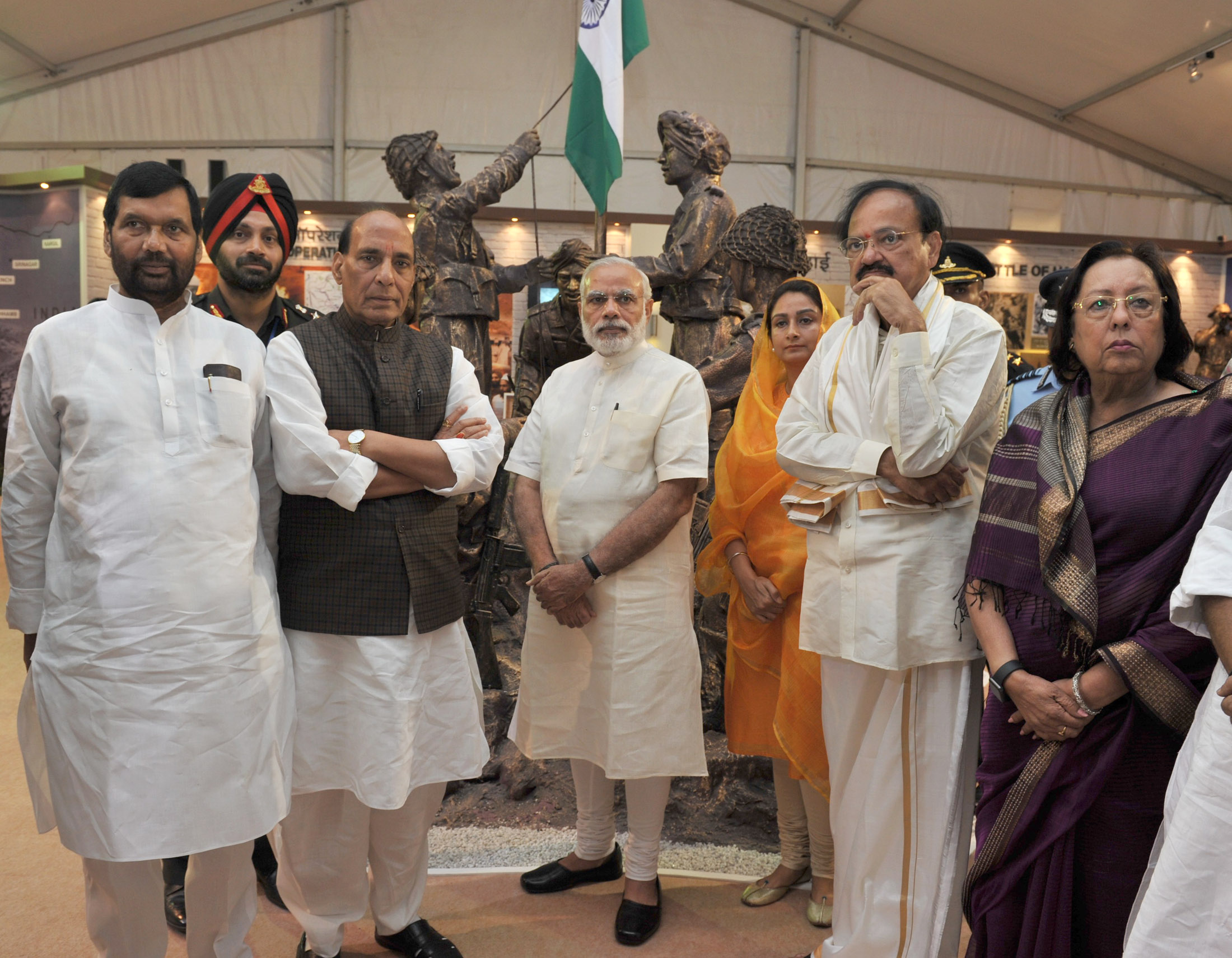 The Prime Minister, Shri Narendra Modi at 'Shauryanjali', a commemorative exhibition on Golden Jubilee of 1965 war, at India Gate, in New Delhi on September 17, 2015. The Union Ministers are also seen.