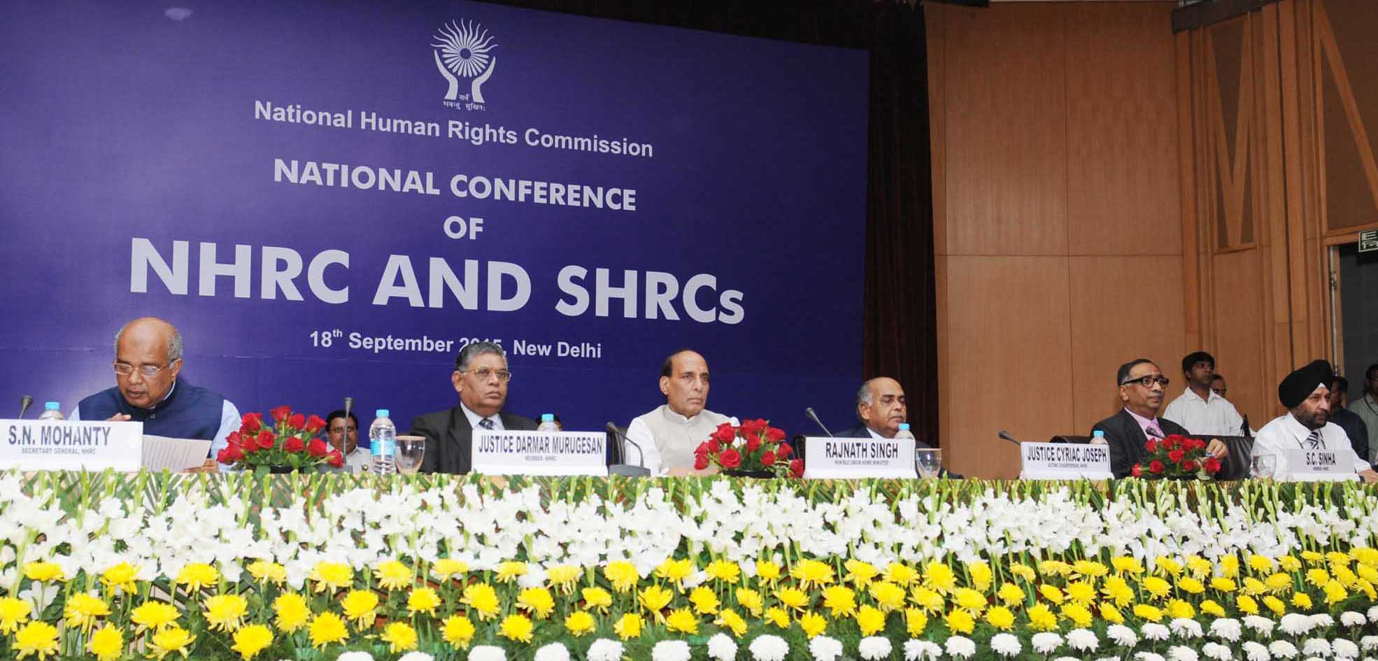 The Union Home Minister, Shri Rajnath Singh at the inauguration at a Conference of the National Human Rights Commission (NHRC) and the State Human Rights Commissions (SHRCs), in New Delhi on September 18, 2015.
