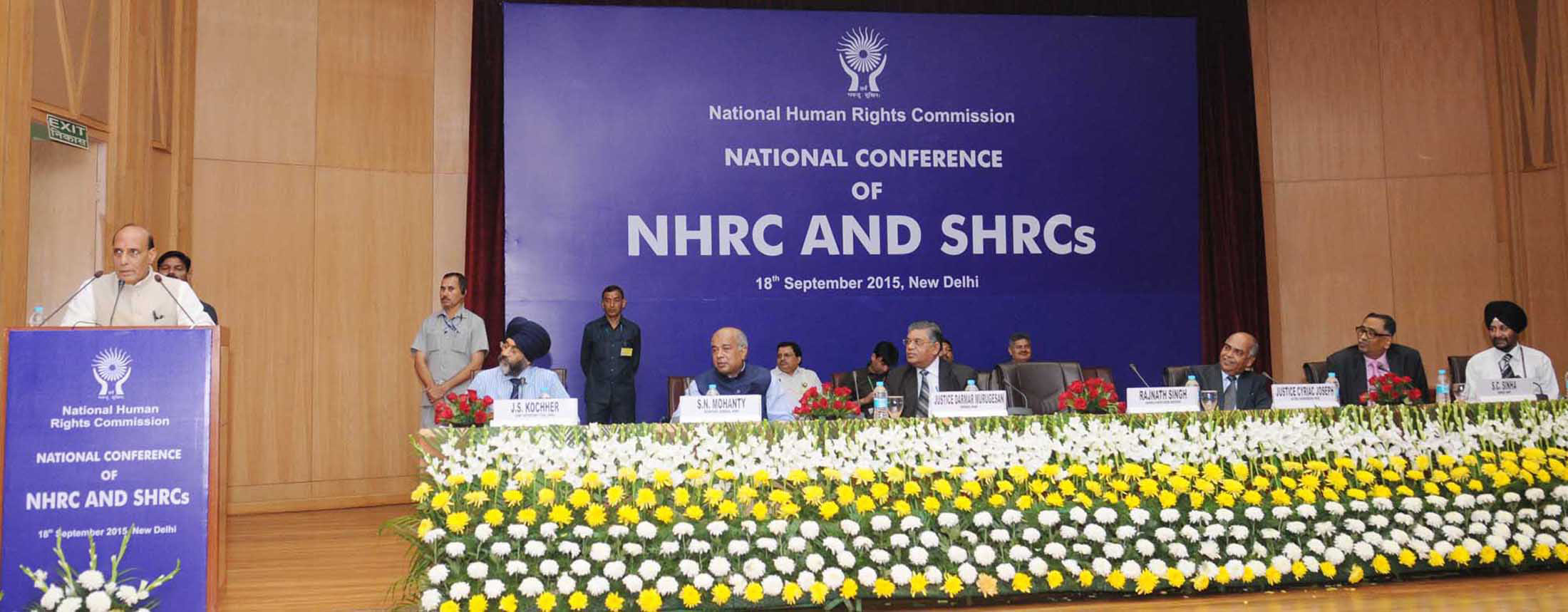 The Union Home Minister, Shri Rajnath Singh addressing at the inauguration of a Conference of the National Human Rights Commission (NHRC) and the State Human Rights Commissions (SHRCs), in New Delhi on September 18, 2015.