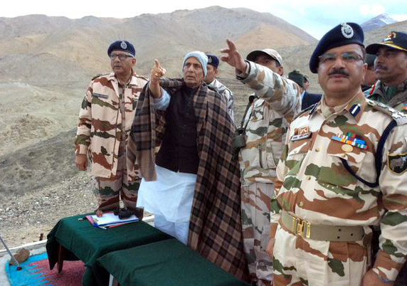 The Union Home Minister, Shri Rajnath Singh at the ITBP Tagyarmale post near LAC in forward areas of Ladakh, Jammu and Kashmir on September 22, 2015.