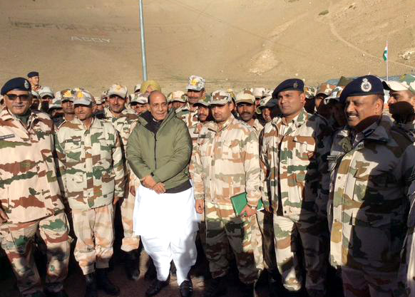The Union Home Minister, Shri Rajnath Singh interacting with the ITBP jawans, at Dungti BoP, in Ladakh sector, Jammu and Kashmir on September 23, 2015.