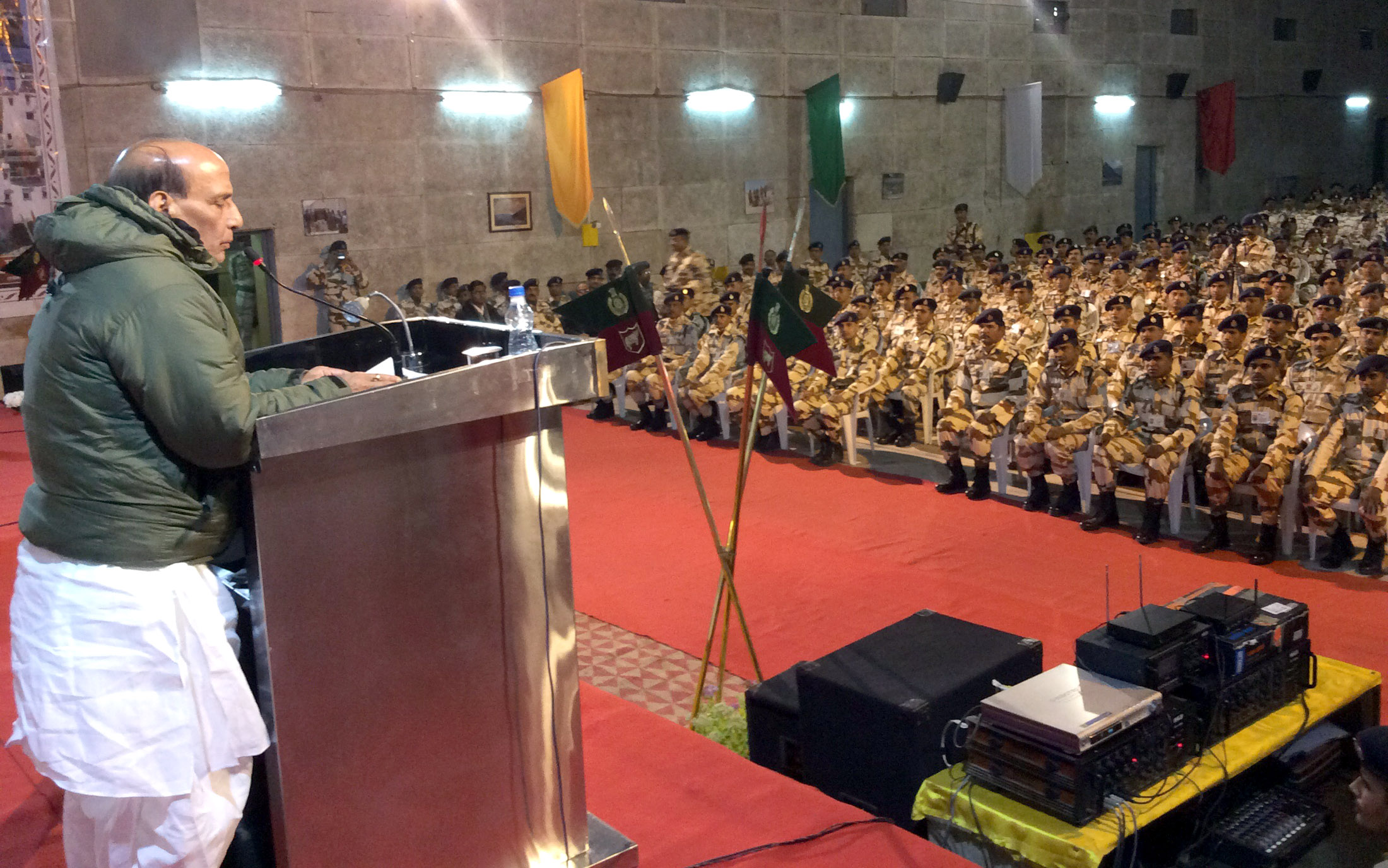 The Union Home Minister, Shri Rajnath Singh addressing at the ITBP Camp, at Leh, Jammu and Kashmir on September 23, 2015.