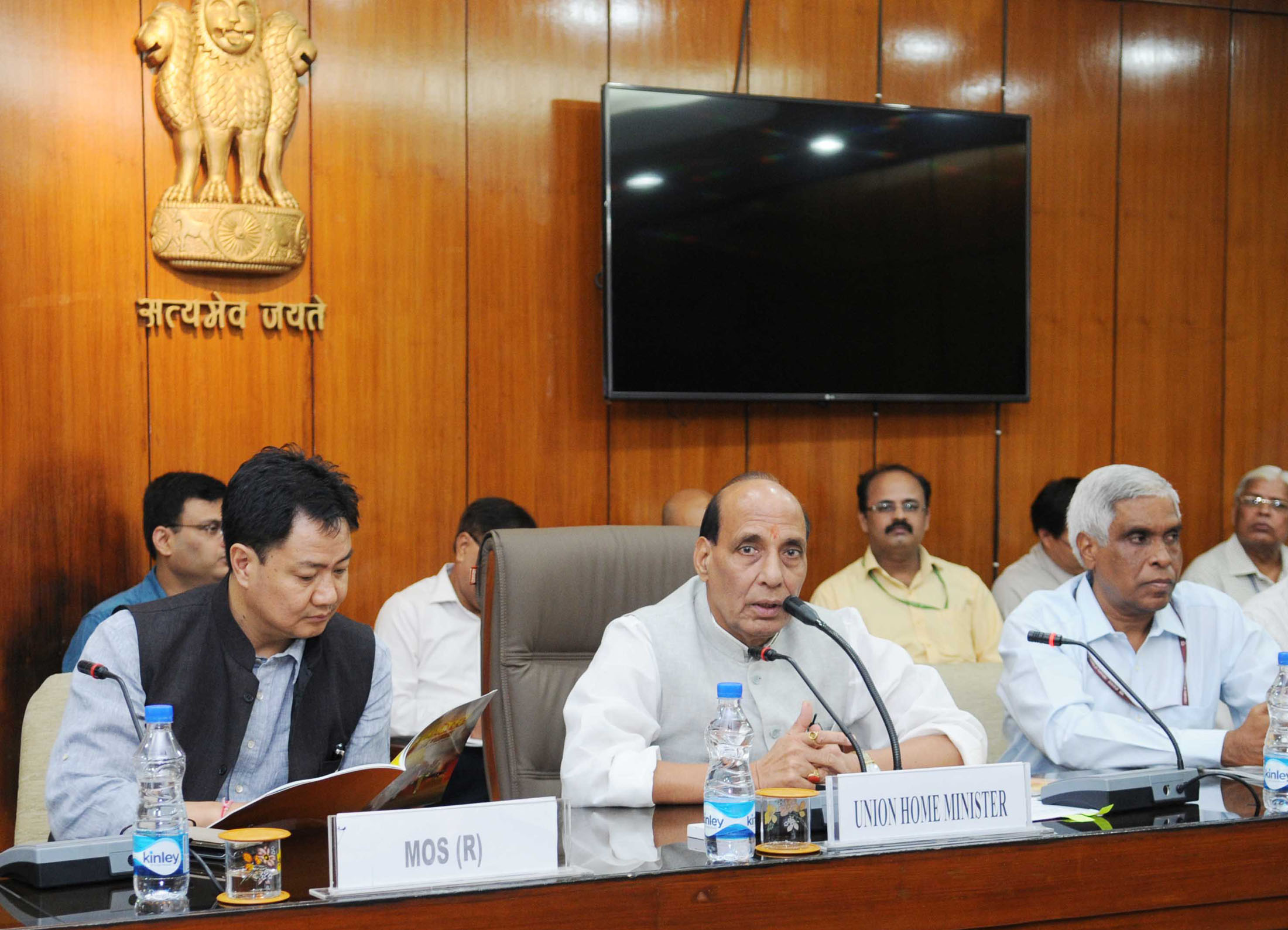 The Union Home Minister, Shri Rajnath Singh addressing at the release of a comic book the saga of Valour and sacrifice of CRPF at the Sardar Post, in New Delhi on September 24, 2015. The Minister of State for Home Affairs, Shri Kiren Rijiju is also seen.