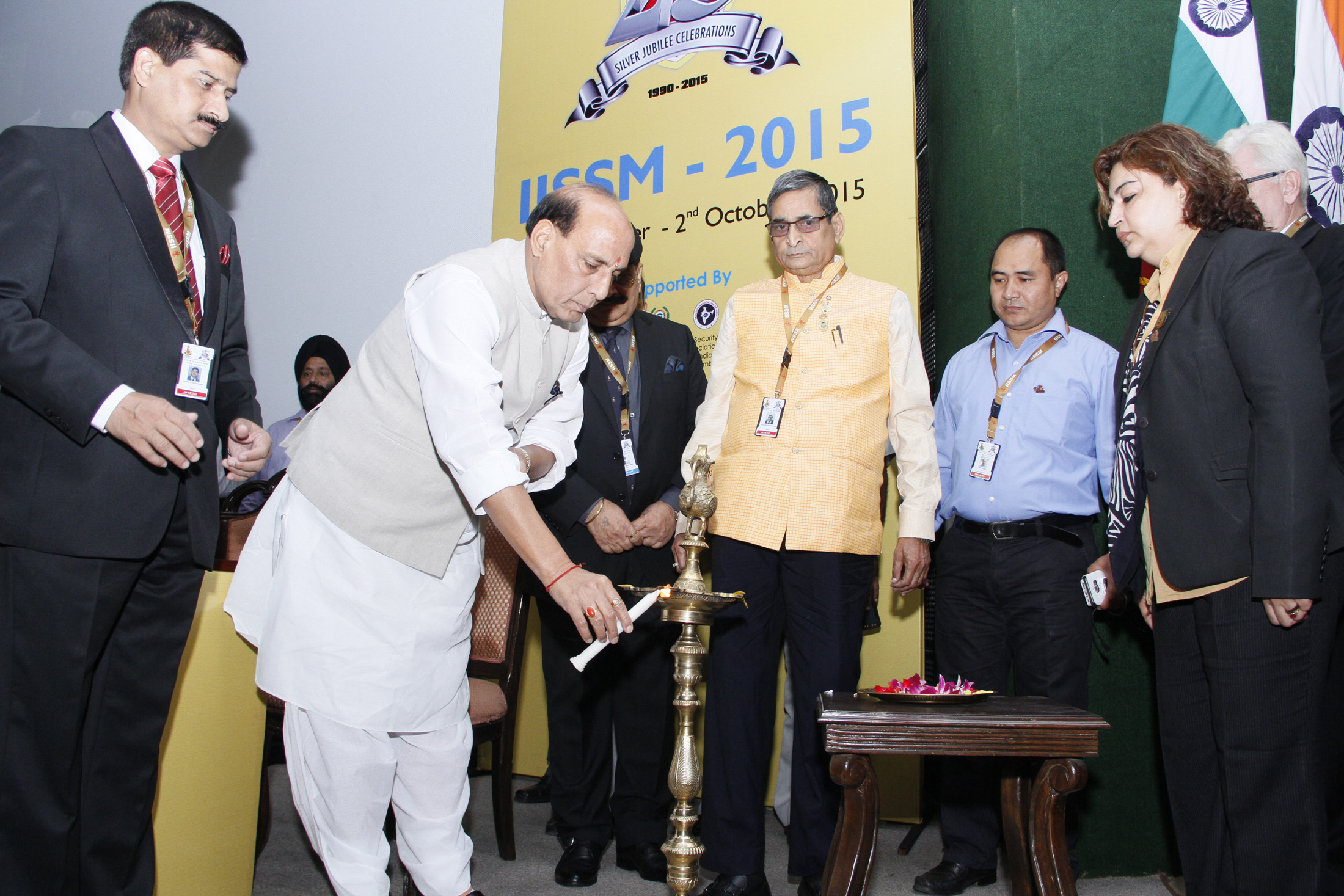The Union Home Minister, Shri Rajnath Singh lighting the lamp to inaugurate the 25th Annual International Seminar of International Institute of Security and Safety Management (IISSM), in New Delhi on October 01, 2015.