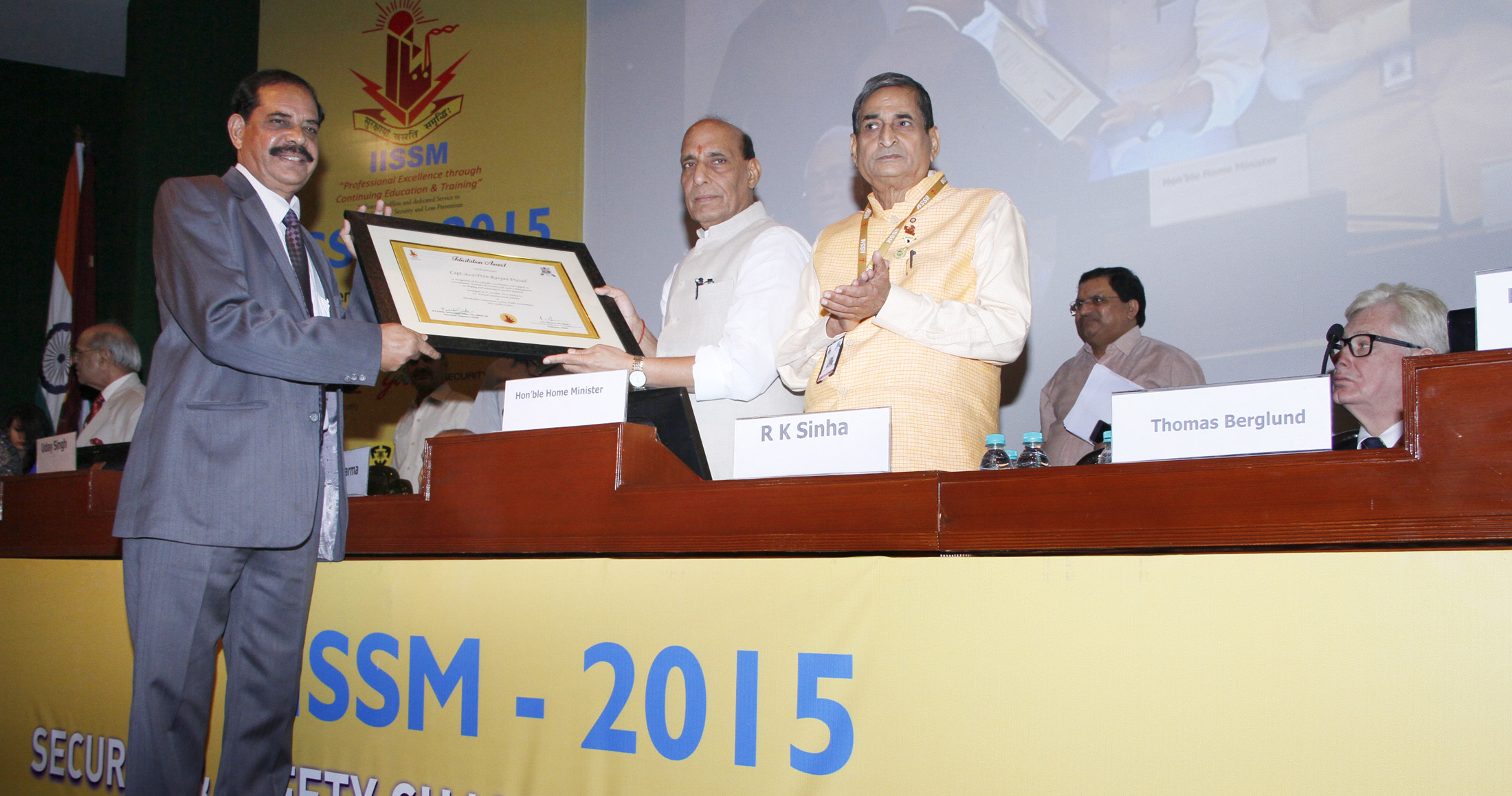 The Union Home Minister, Shri Rajnath Singh gave away the awards at the inauguration of the 25th Annual International Seminar of International Institute of Security and Safety Management (IISSM), in New Delhi on October 01, 2015.
