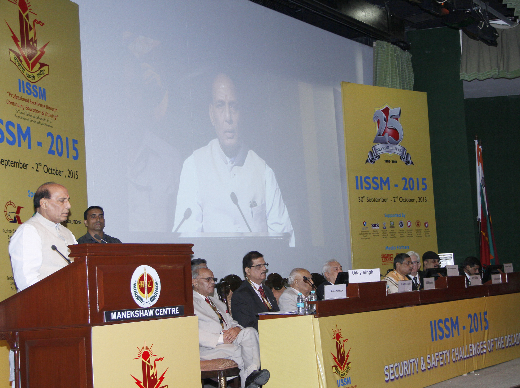 The Union Home Minister, Shri Rajnath Singh addressing at the inauguration of the 25th Annual International Seminar of International Institute of Security and Safety Management (IISSM), in New Delhi on October 01, 2015.