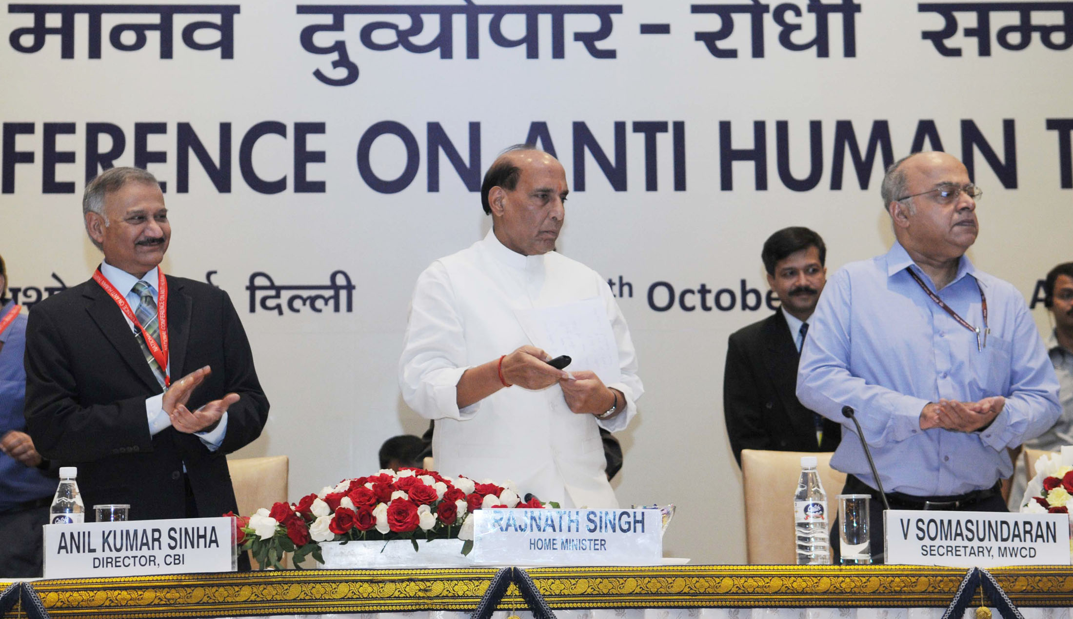The Union Home Minister, Shri Rajnath Singh launching the 'mysecurtiy.gov.in', at the inauguration of the National Conference on Anti Human Trafficking, in New Delhi on October 07, 2015. The Secretary, Ministry of Women and Child Development, Shri V. Somasundaran and the Director, CBI, Shri Anil Kumar Sinha are also seen.