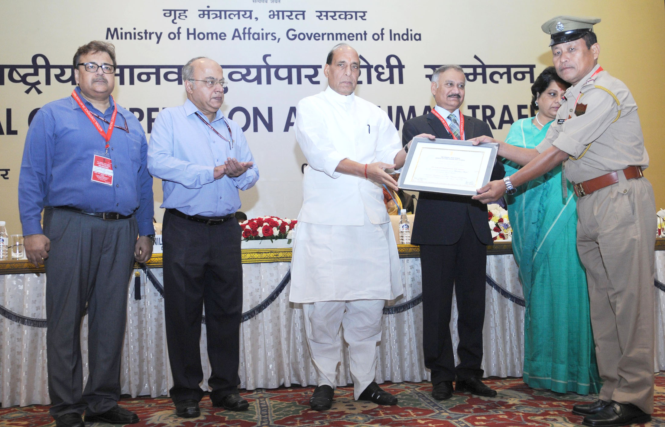 The Union Home Minister, Shri Rajnath Singh presented the certificates to top performers of 'Operation Smile', at the inauguration of the National Conference on Anti Human Trafficking, in New Delhi on October 07, 2015. The Secretary, Ministry of Women and Child Development, Shri V. Somasundaran and the Director, CBI, Shri Anil Kumar Sinha are also seen.