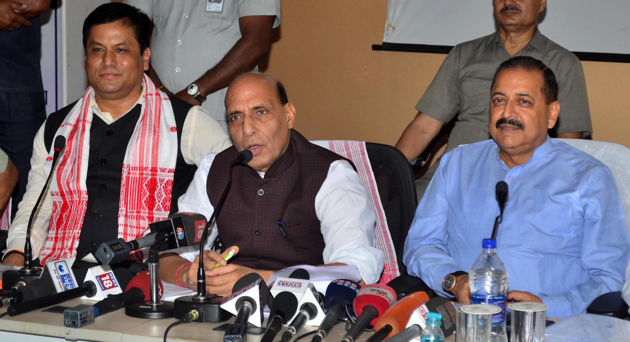 The Union Home Minister, Shri Rajnath Singh addressing a press conference, at Guwahati on July 30, 2016. The Chief Minister of Assam, Shri Sarbananda Sonowal and the Minister of State for Development of North Eastern Region (I/C), Prime Minister's Office, Personnel, Public Grievances & Pensions, Atomic Energy and Space, Dr. Jitendra Singh are also seen.