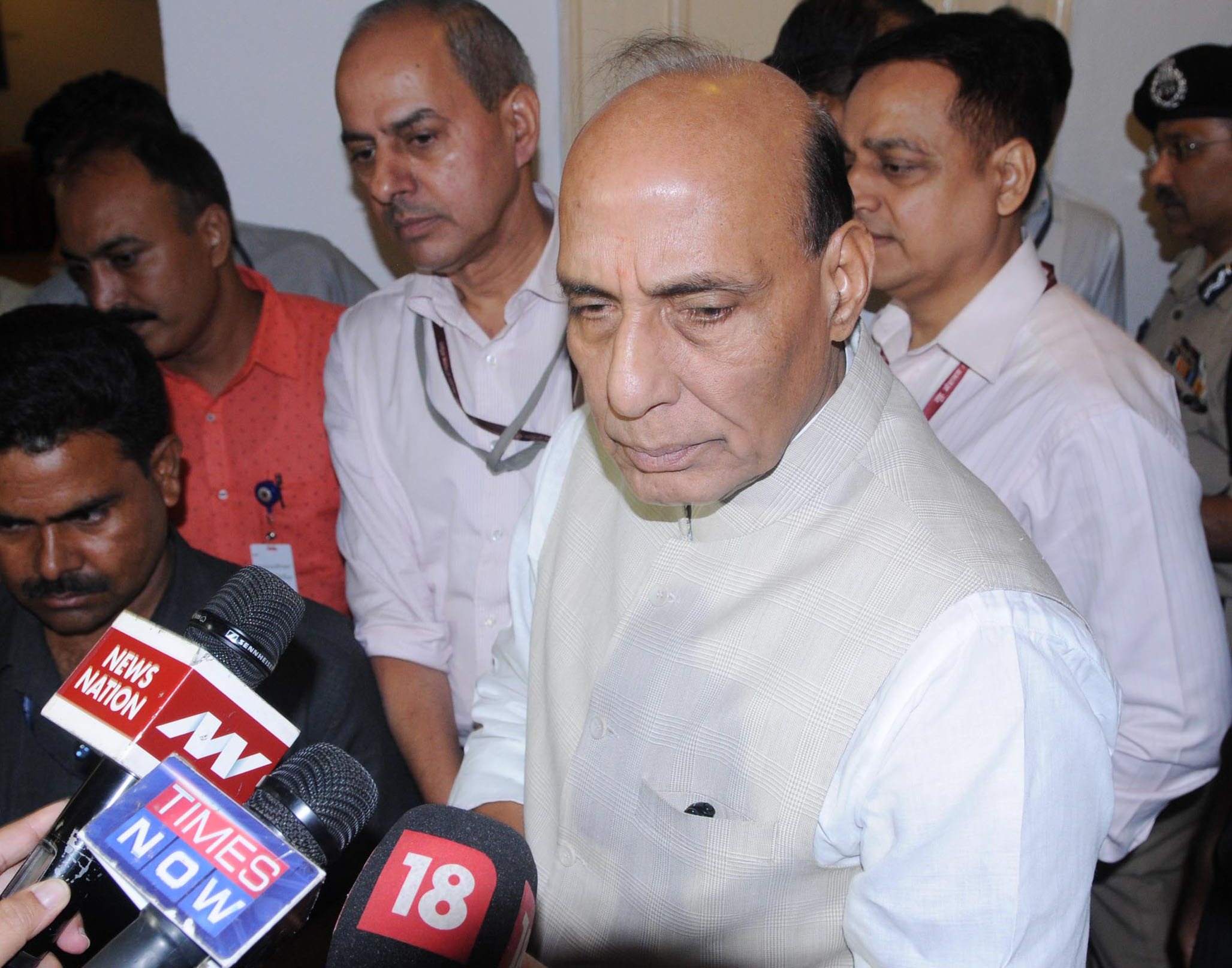 The Union Home Minister, Shri Rajnath Singh interacting with the media after the inaugural ceremony of the 1st National Conference of Investigating Agencies, in New Delhi on August 12, 2016.