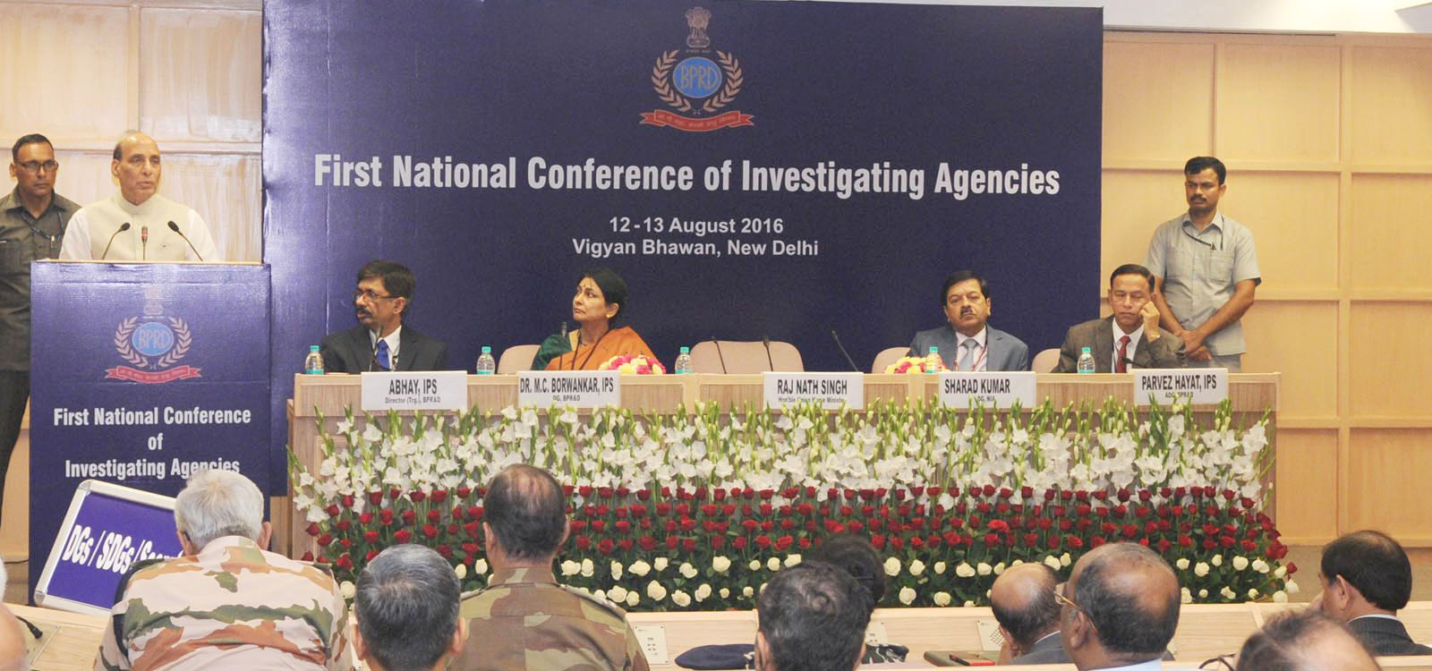The Union Home Minister, Shri Rajnath Singh addressing the inaugural ceremony of the 1st National Conference of Investigating Agencies, in New Delhi on August 12, 2016. The DG, NIA, Shri Sharad Kumar, the DG, Bureau of Police Research and Development (BPR&D), Dr. M.C. Borwankar and other dignitaries are also seen.