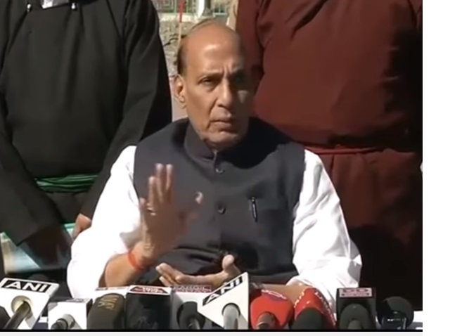 Home Minister Shri Rajnath Singh press conference after visit to Ladakh region in Jammu and Kashmir