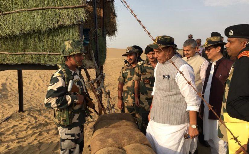 Home Minister Shri Rajnath Singh visits BOP near the India-Pakistan border in Jaisalmer, Rajasthan