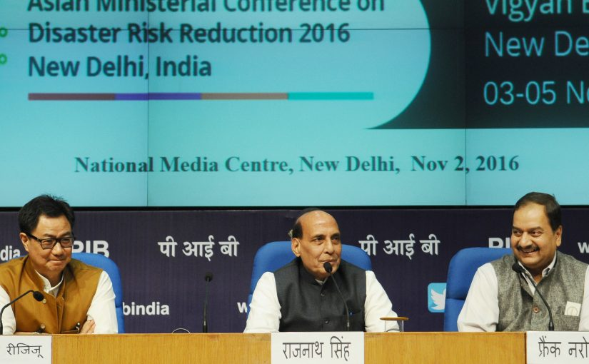 Home Minister Shri Rajnath Singh address press conference on Asian Ministerial Conference for Disaster Risk Reduction (AMCDRR) 2016