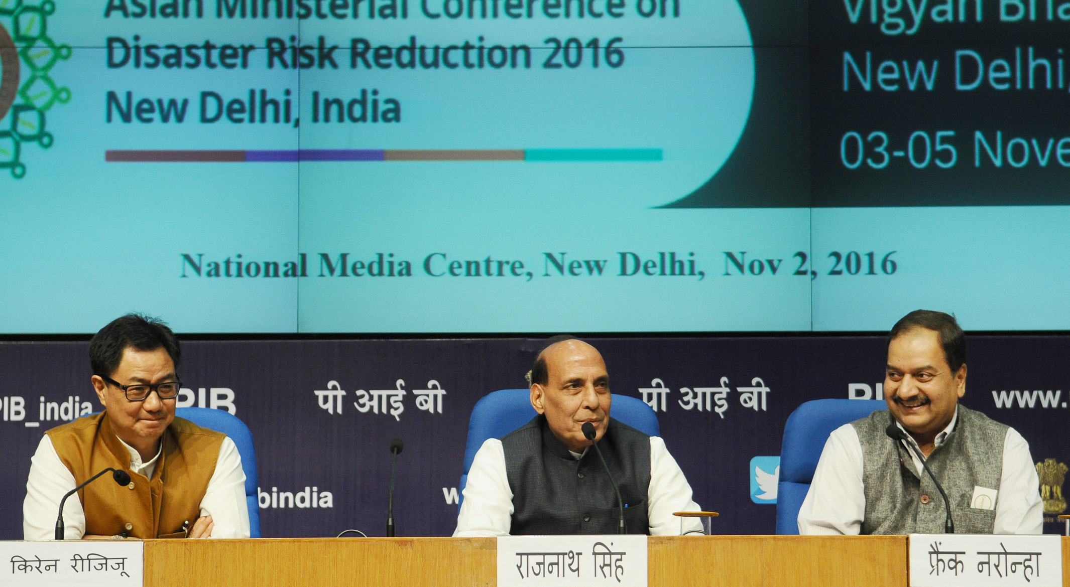 The Union Home Minister, Shri Rajnath Singh addressing a press conference on Asian Ministerial Conference for Disaster Risk Reduction (AMCDRR), 2016, in New Delhi on November 02, 2016.  The Minister of State for Home Affairs, Shri Kiren Rijiju and the Director General (M&C), Press Information Bureau, Shri A.P. Frank Noronha are also seen.