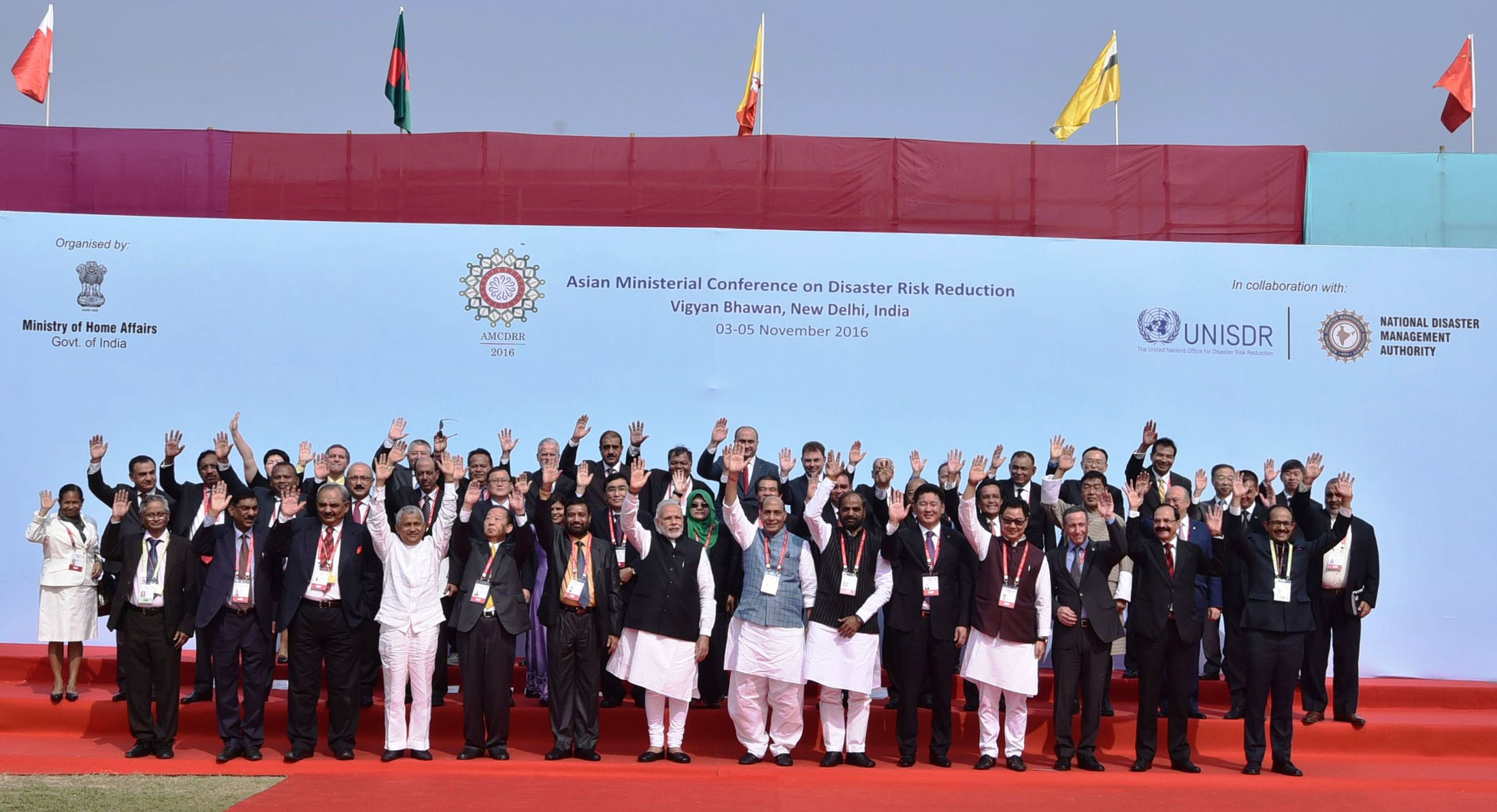 The Prime Minister, Shri Narendra Modi and Home Minister Shri Rajnath Singh with the delegates present at the Asian Ministerial Conference on Disaster Risk Reduction, in New Delhi on November 03, 2016. 	The Ministers of State for Home Affairs, Shri Hansraj Gangaram Ahir and Shri Kiren Rijiju are also seen.