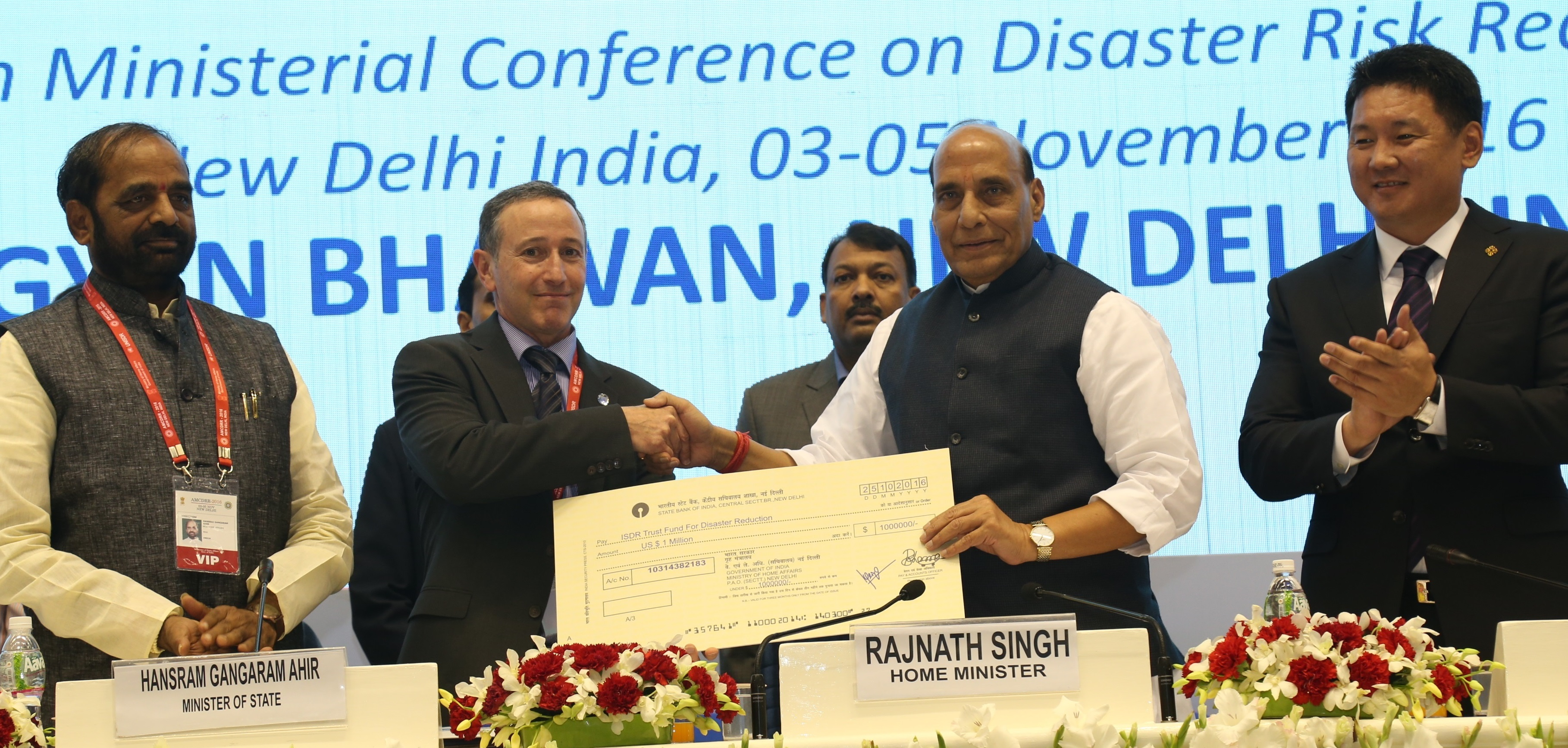 The Union Home Minister, Shri Rajnath Singh at the closing ceremony of the Asian Ministerial Conference for Disaster Risk Reduction (AMCDRR) 2016, in New Delhi on November 05, 2016. The Ministers of State for Home Affairs, Shri Hansraj Gangaram Ahir & Shri Kiren Rijiju, the Additional Principal Secretary to the Prime Minister, Dr. P.K. Mishra and the Union Home Secretary, Shri Rajiv Mehrishi are also seen.