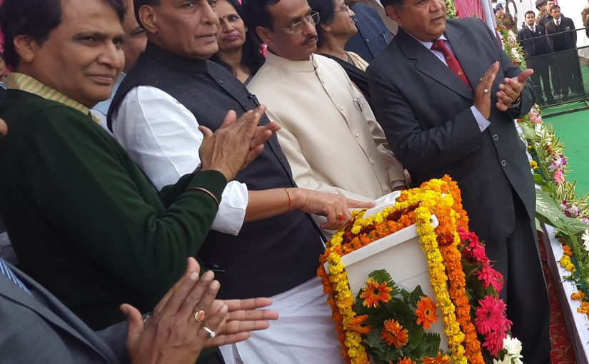 HM Shri Rajnath Singh lays foundation stone of development works at Gomati Nagar, Lucknow.
