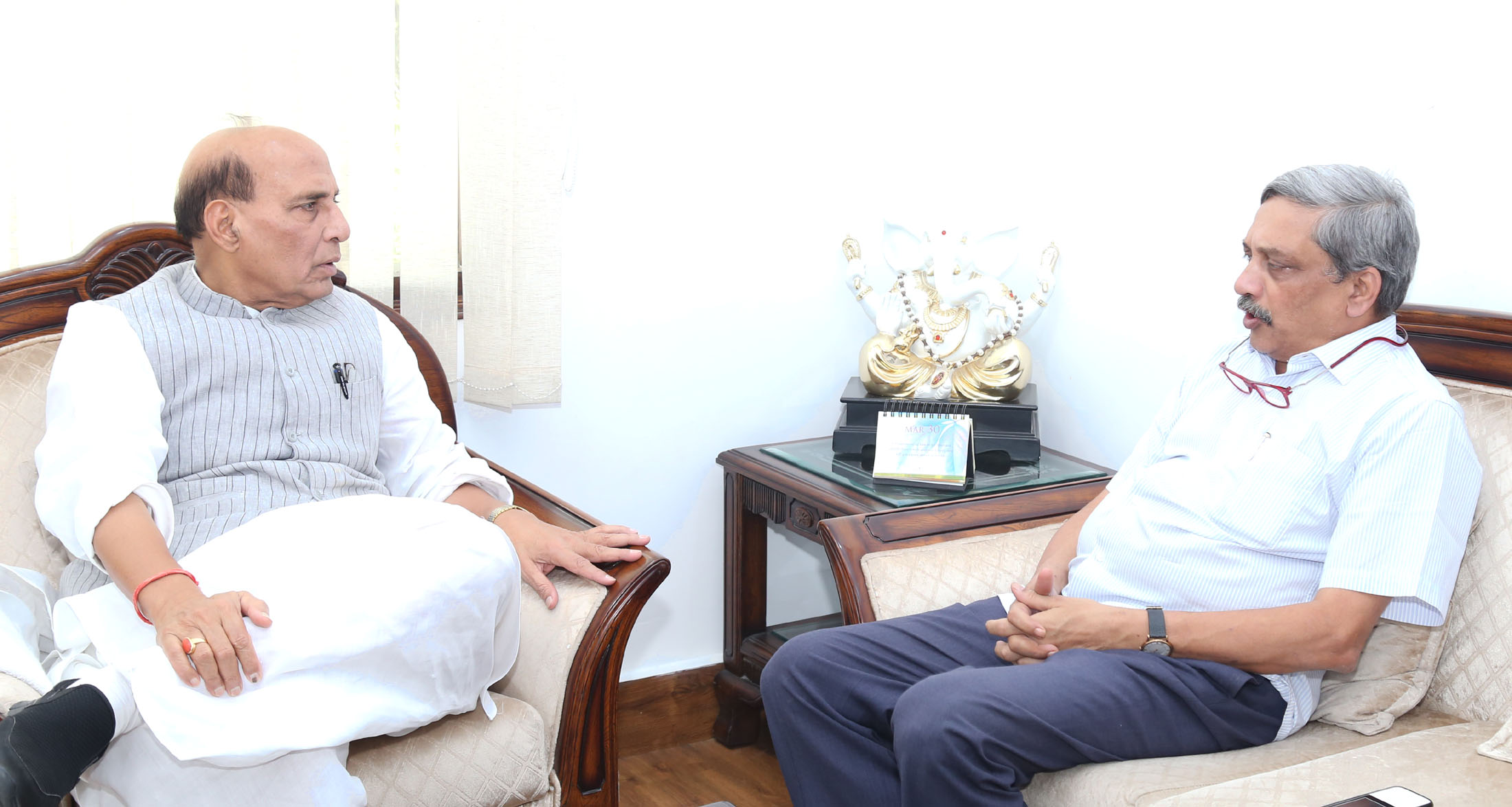 The Chief Minister of Goa, Shri Manohar Parrikar calling on the Union Home Minister, Shri Rajnath Singh, in New Delhi