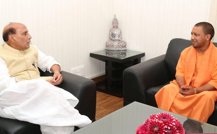 The Chief Minister of Uttar Pradesh, Yogi Adityanath calling on the Union Home Minister, Shri Rajnath Singh, in New Delhi.