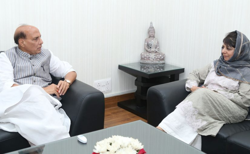 The Chief Minister of Jammu and Kashmir, Ms. Mehbooba Mufti calling on the Union Home Minister, Shri Rajnath Singh, in New Delhi on April 24, 2017