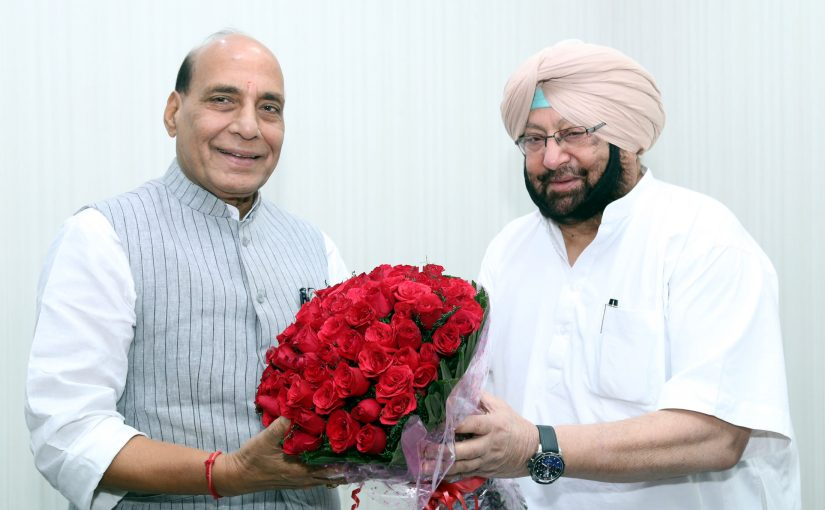 The Chief Minister of Punjab, Captain Amarinder Singh calling on the Union Home Minister, Shri Rajnath Singh