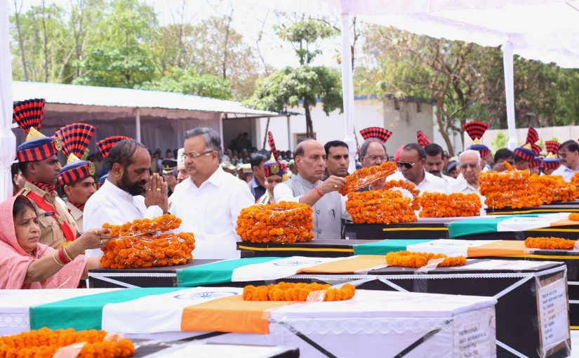 Home Minister Shri Rajnath Singh pays tributes to martyred CRPF personnel at CRPF camp in Raipur