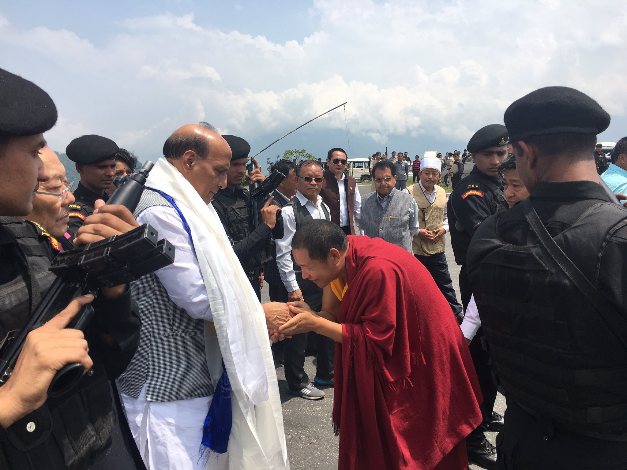 Union Home Minister Shri Rajnath Singh being welcomed in traditional way at Namchi in Sikkim.