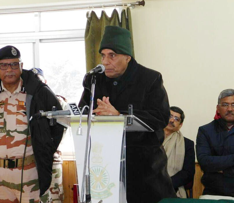 The Union Home Minister, Shri Rajnath Singh addressing a Sainik Sabha during his visit to ITBP Border Out Post Sherathang near Nathu La, in Sikkim on May 20, 2017.