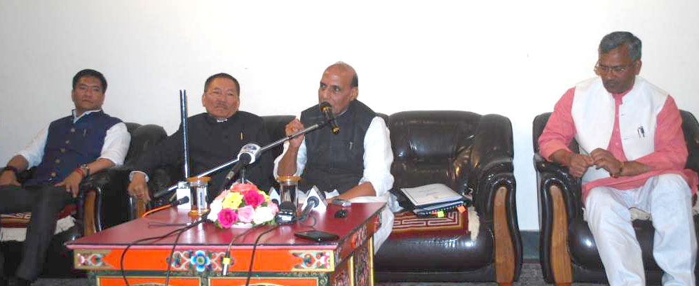 The Union Home Minister, Shri Rajnath Singh addressing a press conference after chairing a review meeting of the Chief Ministers of five States on Indo-China Border Infrastructure and other issues, in Gangtok, Sikkim on May 20, 2017.