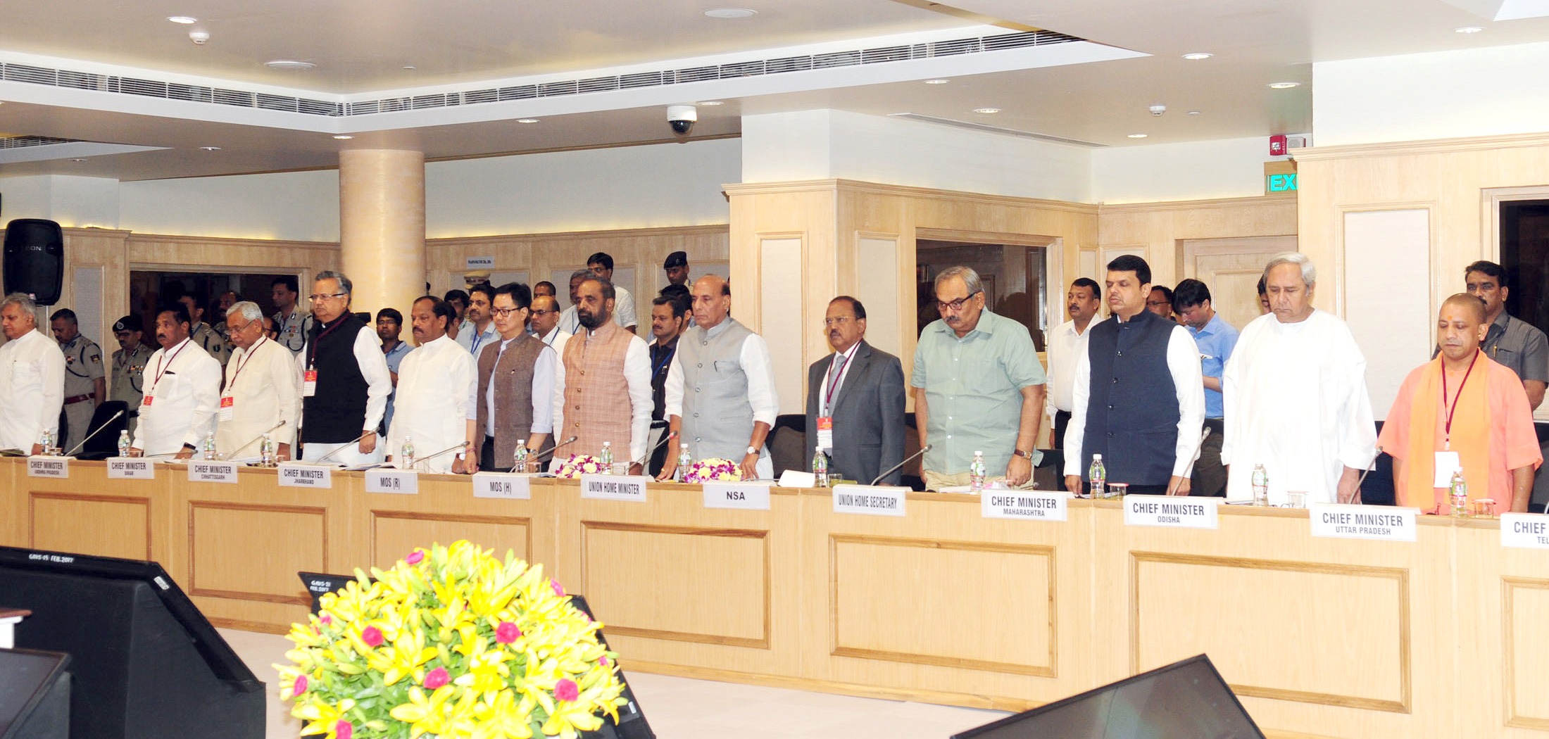 The Union Home Minister, Shri Rajnath Singh and other dignitaries standing in silence as a mark of respect towards brave martyrs of the recent Maoist attack, during the meeting to review the Left Wing Extremism (LWE) situation, in New Delhi on May 08, 2017.