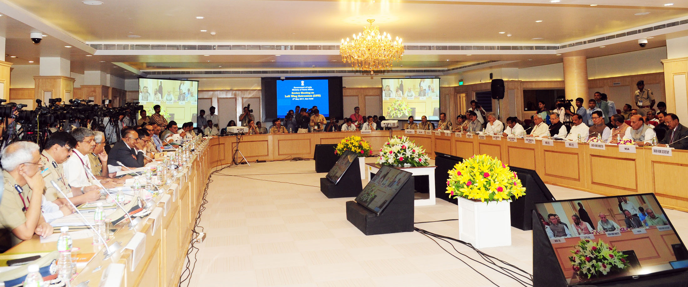 The Union Home Minister, Shri Rajnath Singh chairing the meeting with the Chief Ministers to review the security issues to deal with Left Wing Extremism (LWE), in New Delhi on May 08, 2017. The Senior Officers of Centre and State Governments are also seen.