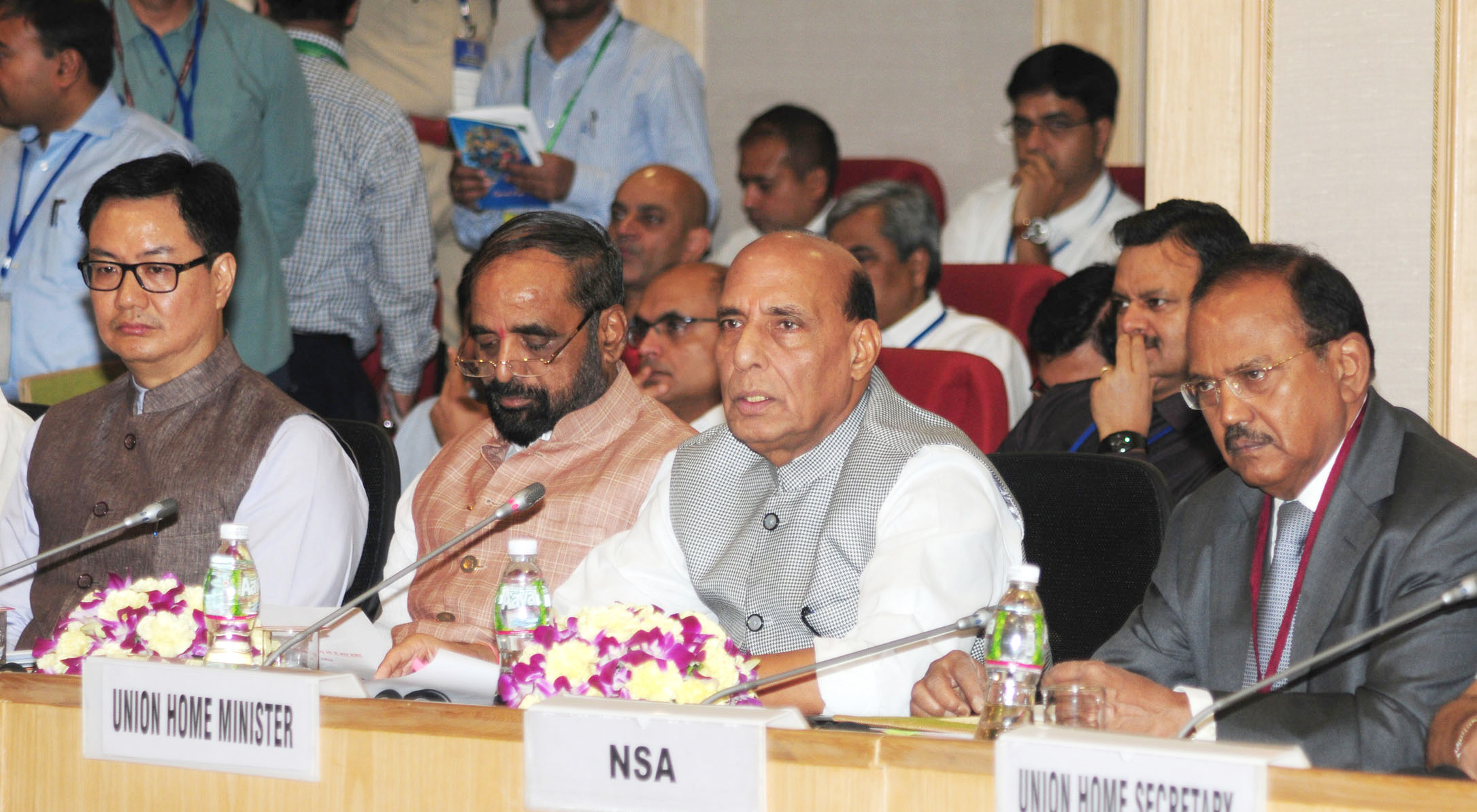 The Union Home Minister, Shri Rajnath Singh chairing the meeting with the Chief Ministers to review the security issues to deal with Left Wing Extremism (LWE), in New Delhi on May 08, 2017. The Ministers of State for Home Affairs, Shri Hansraj Gangaram Ahir and Shri Kiren Rijiju and the National Security Adviser (NSA), Shri Ajit Doval are also seen.