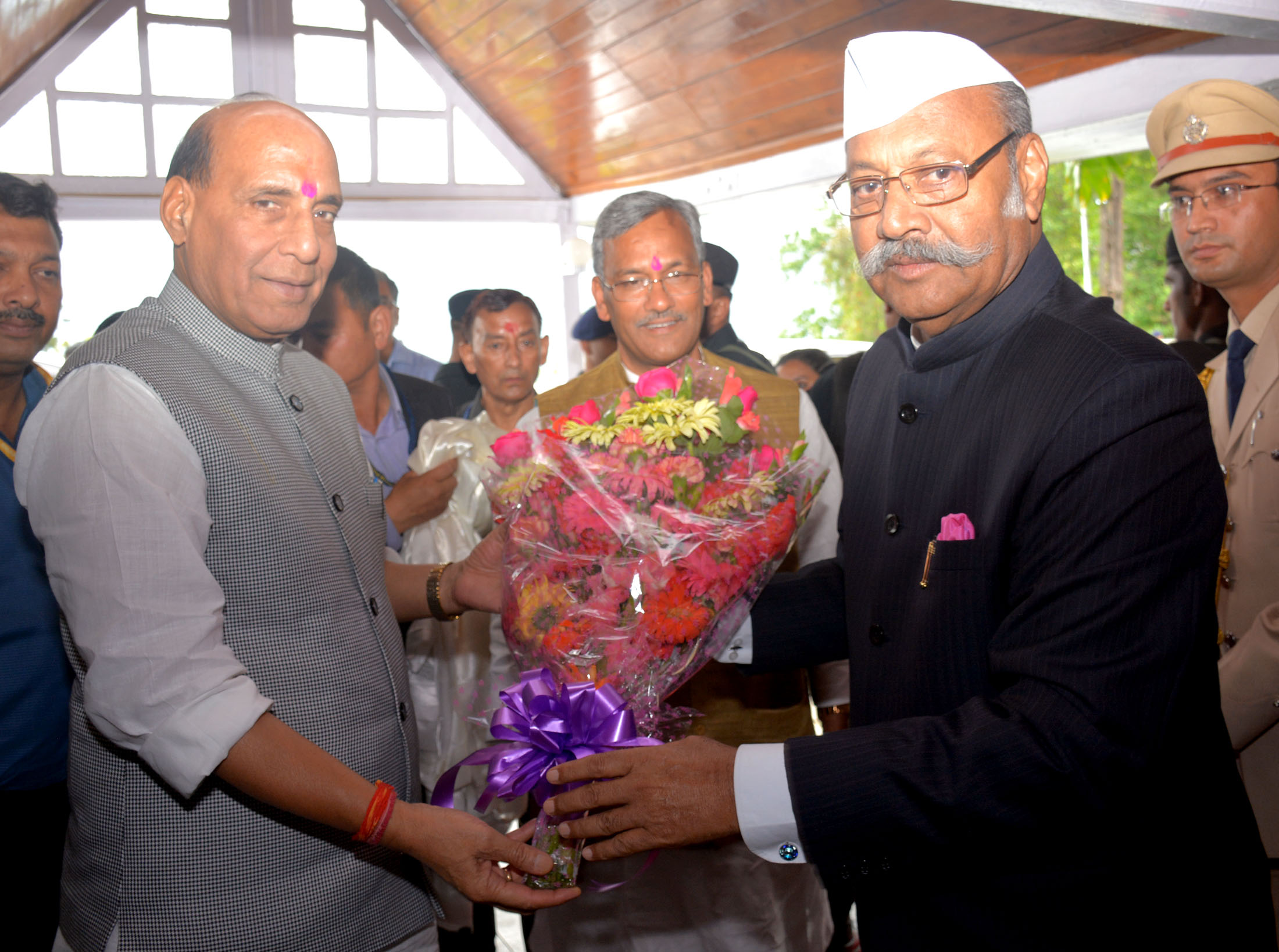 The Governor of Sikkim, Shri Shriniwas Patil welcoming the Union Home Minister, Shri Rajnath Singh, in Gangtok, Sikkim on May 19, 2017.