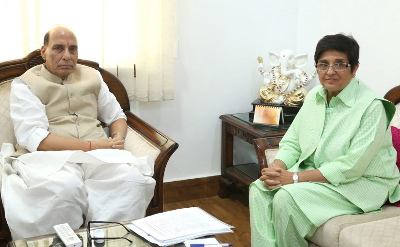 The Lieutenant Governor of Puducherry, Dr. Kiran Bedi calling on the Union Home Minister, Shri Rajnath Singh