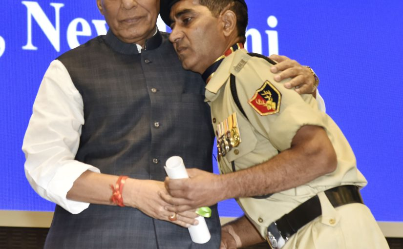 Home Minister Shri Rajnath Singh presents awards at 15th BSF Investiture Ceremony