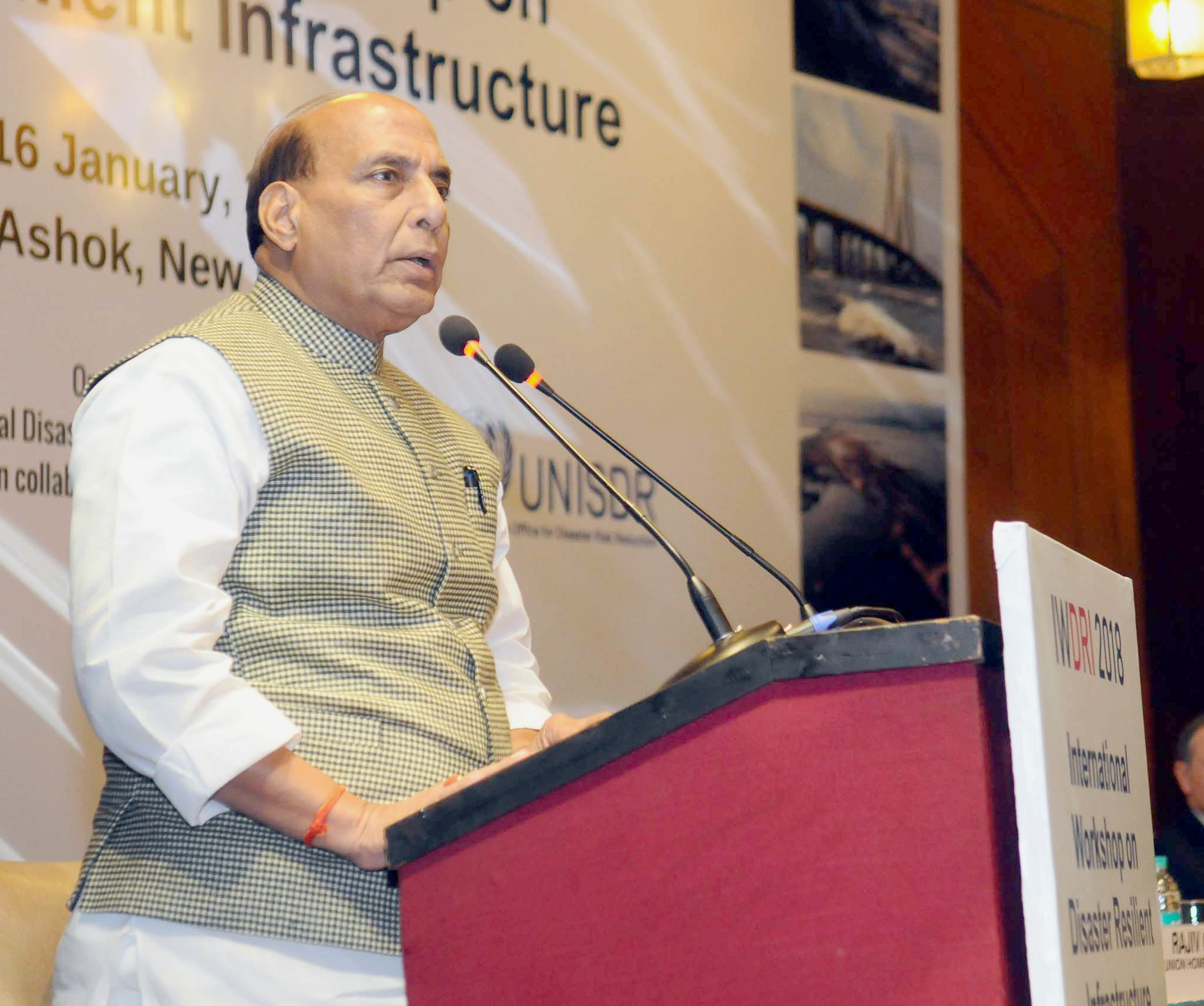 The Union Home Minister, Shri Rajnath Singh addressing the inaugural session of the International Workshop on Disaster Resilient Infrastructure (IWDRI), in New Delhi on January 15, 2018.