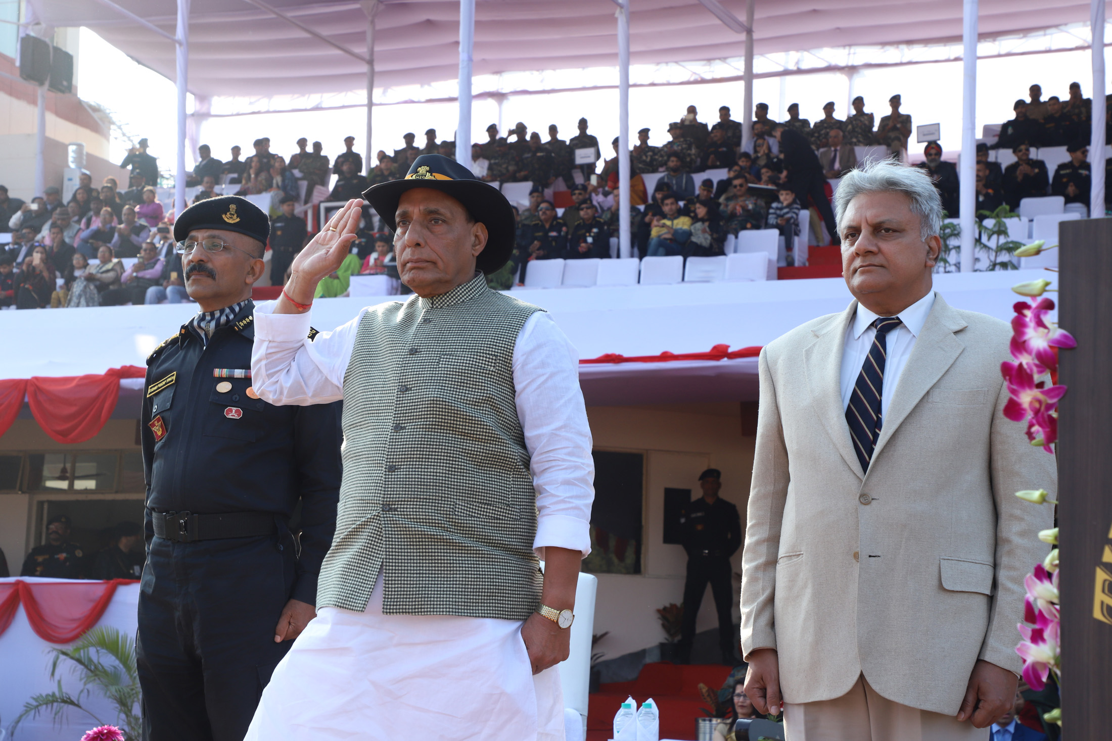 The Union Home Minister, Shri Rajnath Singh taking salute of the march past, during the Closing Ceremony of the 8th All India Police Commando Competition, at Manesar, Gurugram, in Haryana on January 20, 2018.  The Director General, NSG, Shri Sudhir Pratap Singh and the Director, IB, Shri Rajiv Jain are also seen.