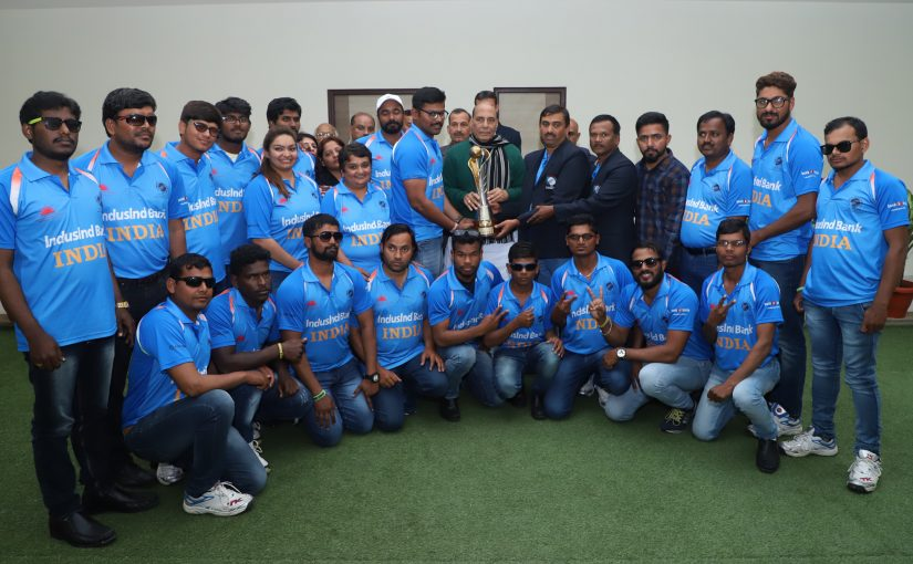 India team which won the recent 2018 Blind Cricket World Cup call on the Union Home Minister Shri Rajnath Singh