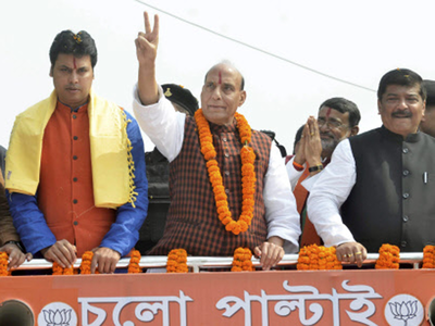 Rajnath leads roadshow as BJP vows to end 'Sarkar raaj' in Tripura