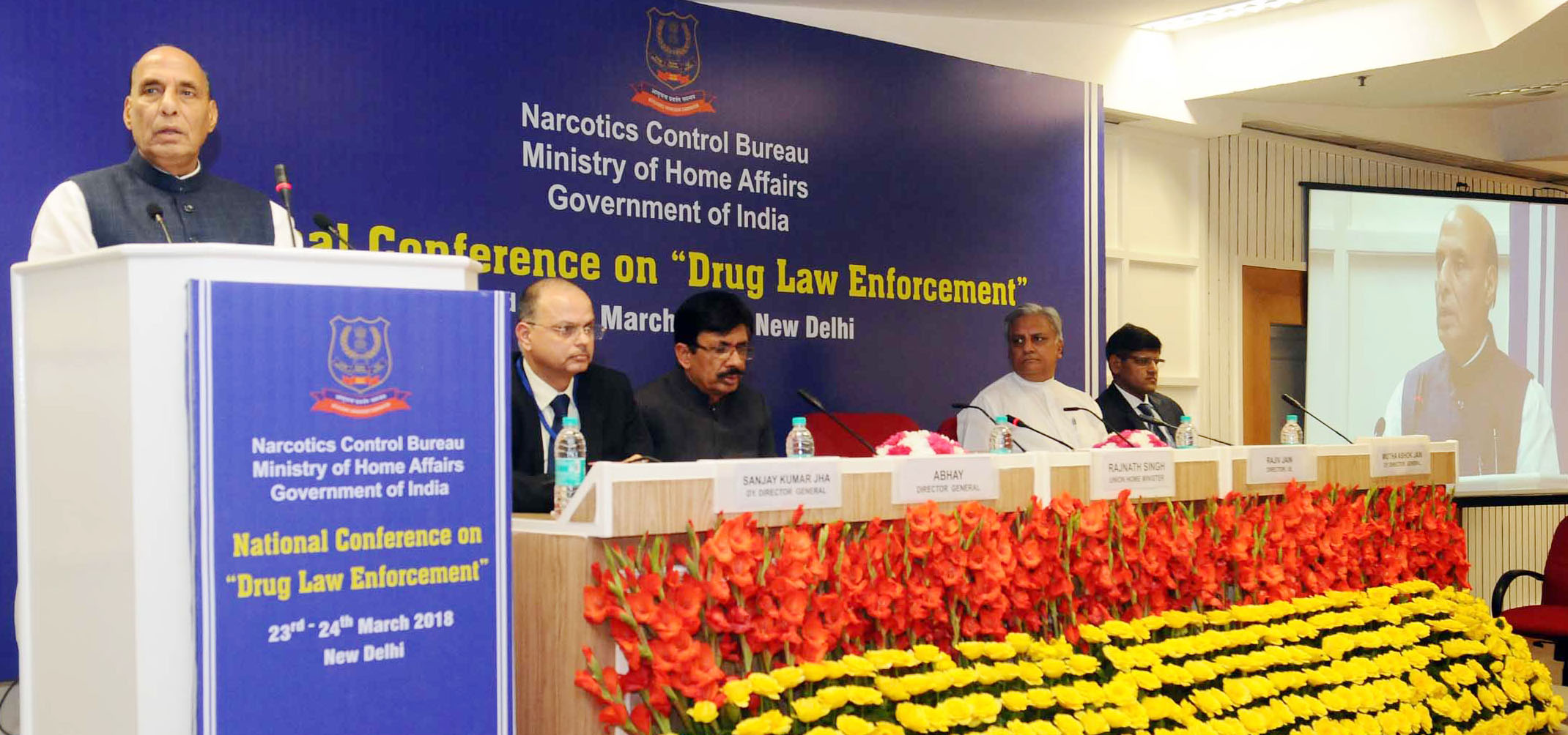The Union Home Minister, Shri Rajnath Singh addressing at the Closing Ceremony of the 2-day National Conference on Drug Law Enforcement, organised by Narcotics Control Bureau (NCB), MHA, in New Delhi on March 24, 2018.  The DG, NCB, Shri Abhay and Director, IB, Shri Rajiv Jain are also seen.