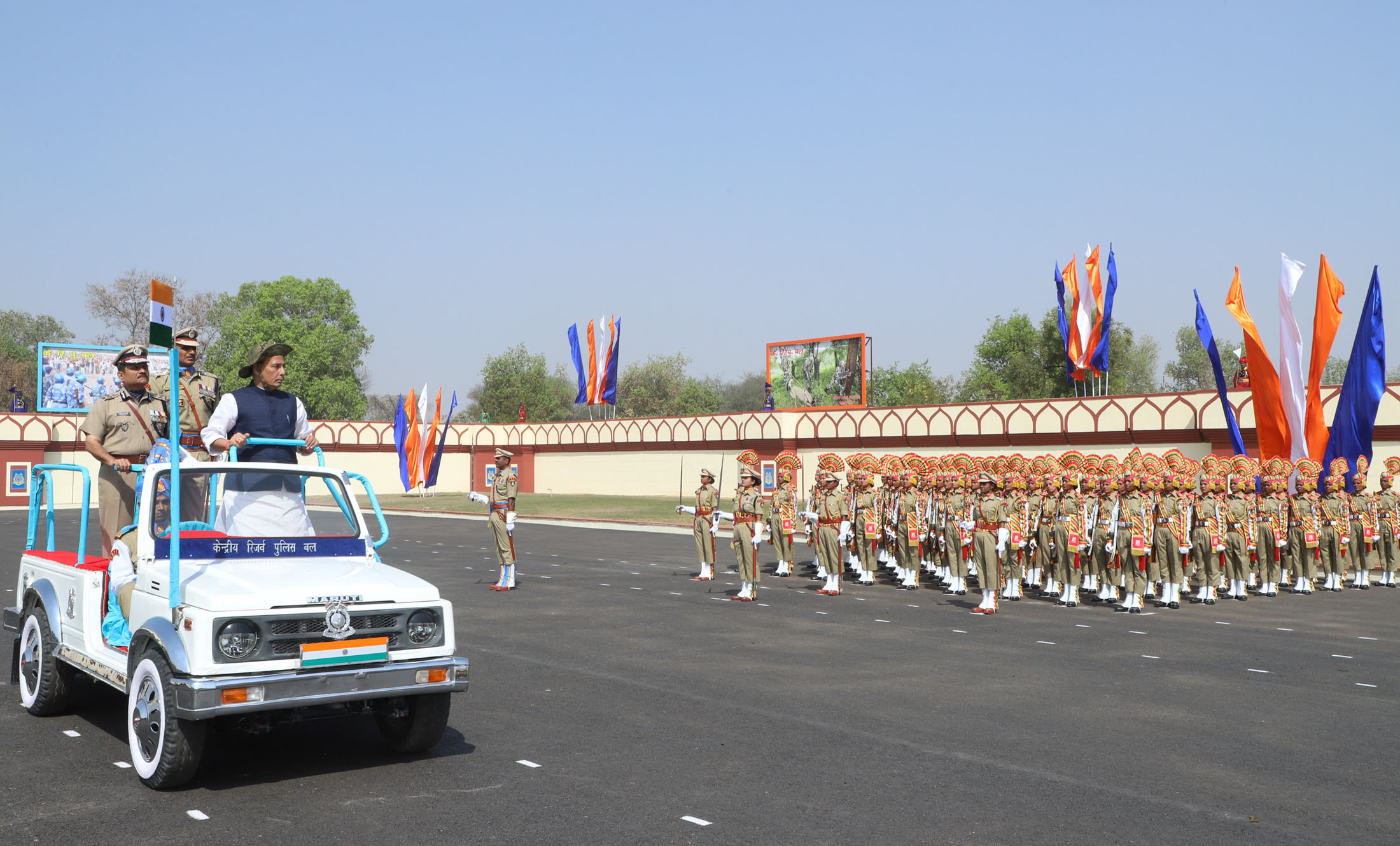 The Union Home Minister, Shri Rajnath Singh inspecting the parade at the CRPF's 79th Raising Day function, in Gurugram, Haryana on March 24, 2018.