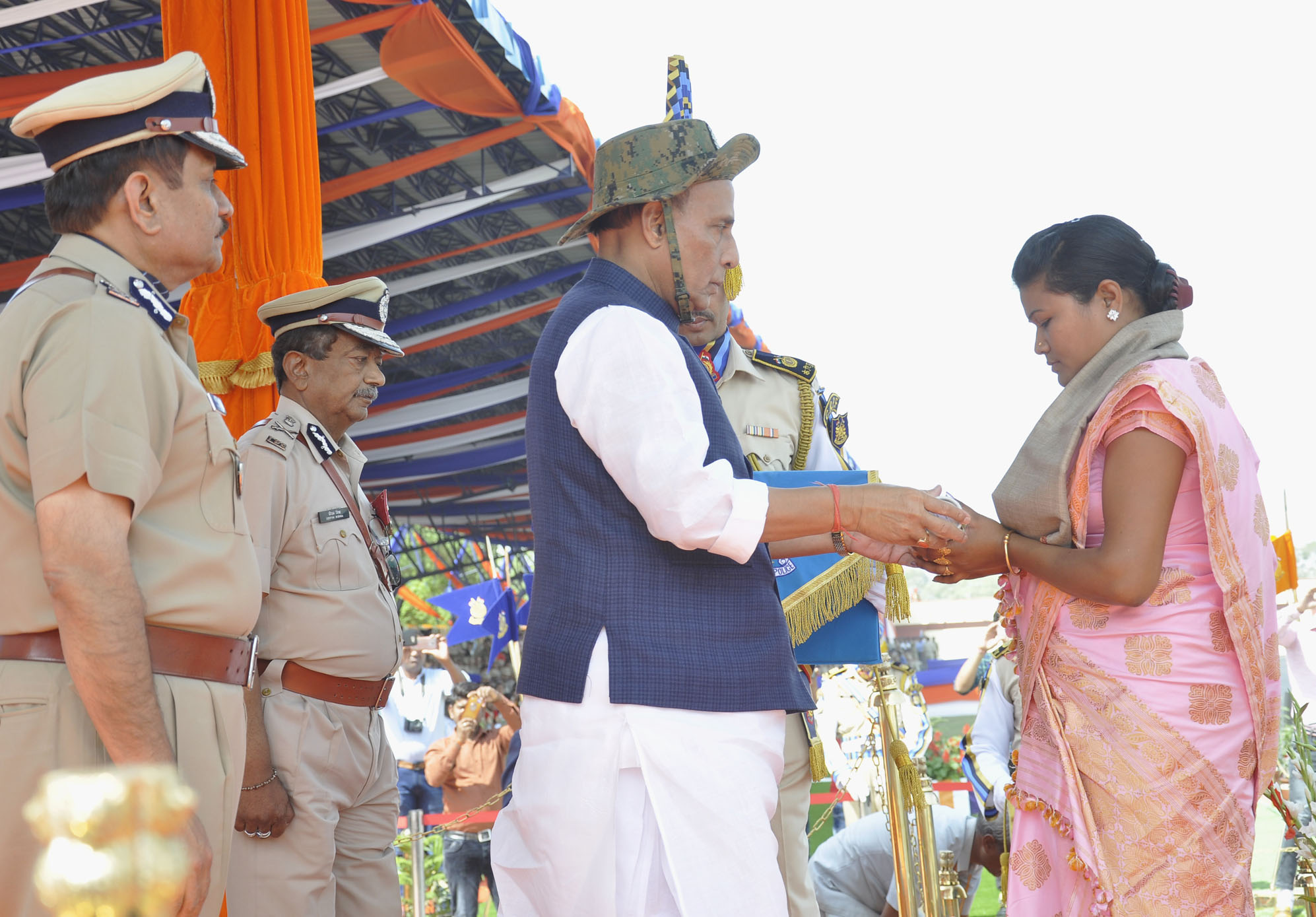The Union Home Minister, Shri Rajnath Singh presenting Police Medals for Gallantry on the occasion of CRPF's 79th Raising Day Parade, in Gurugram, Haryana in March 24, 2018.