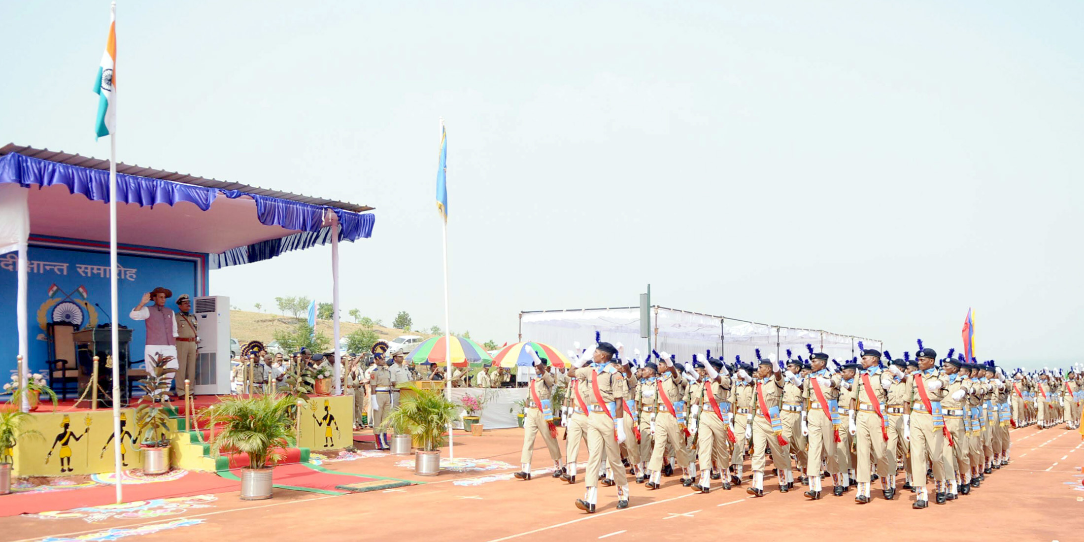 The Union Home Minister, Shri Rajnath Singh taking salute at the Passing Out Parade of the 'Bastariya Battalion' of CRPF, in Ambikapur, in Chhattisgarh on May 21, 2018.