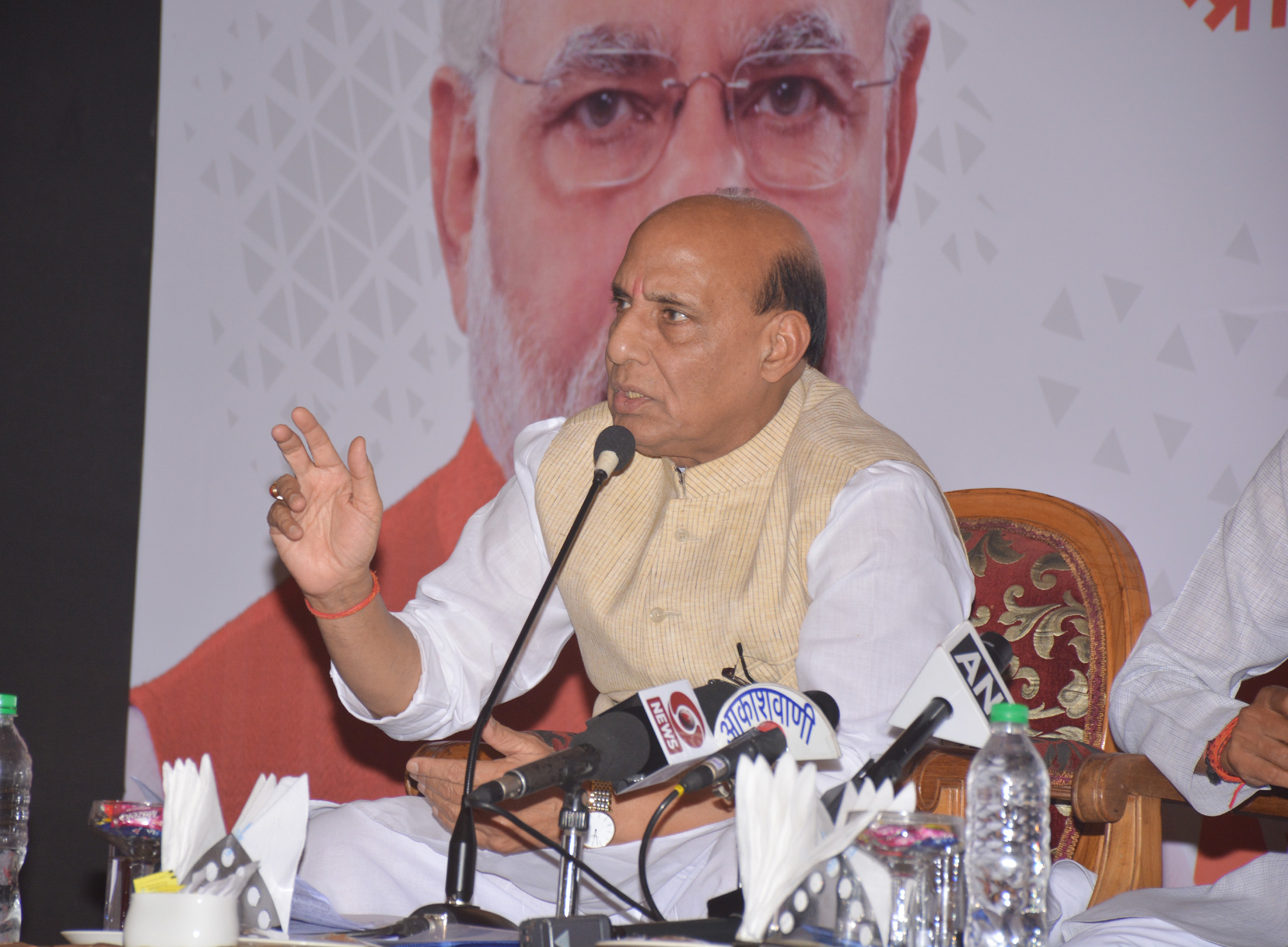 The Union Home Minister, Shri Rajnath Singh addressing a press conference, in Bhopal, Madhya Pradesh on May 31, 2018.