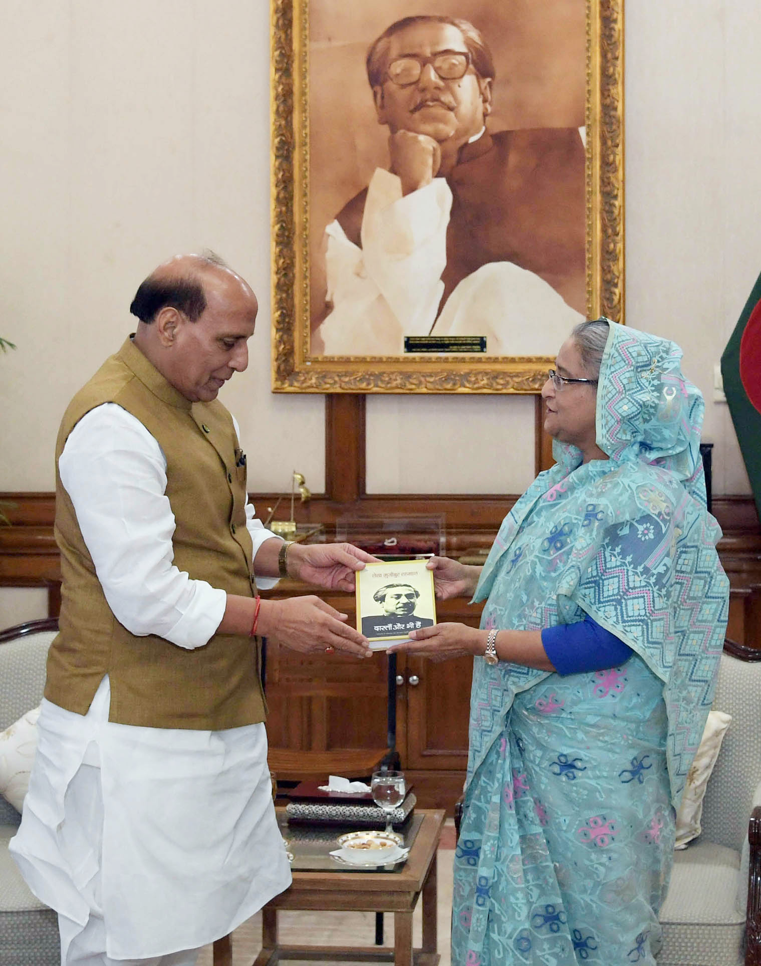 The Union Home Minister, Shri Rajnath Singh calling on the Prime Minister of Bangladesh, Ms. Sheikh Hasina, in Dhaka, Bangladesh on July 14, 2018.