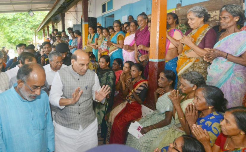 Union Home Minister Shri Rajnath Singh visits the flood affected areas of Kerala