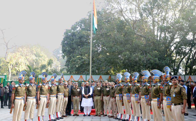 Home Minister Shri Rajnath Singh unfurling the National Flag at the 70th Republic Day Celebrations