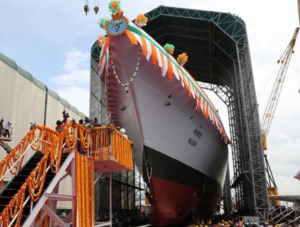 Raksha Mantri Shri Rajnath Singh launches Navy's first new stealth frigate, INS 'Nilgiri'